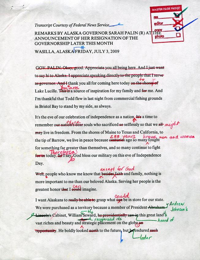 Vanity Fair takes the editing pen to Sarah Palin's resignation speech,